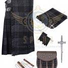 Mens Scottish 8 Yard KILT Traditional 8 yard KILT Grey Watch & Free Accessories