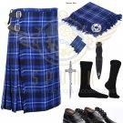 Scottish 8 Yard KILT Mens Ramsey Blue Traditional 8 yard KILT With Free Accessories