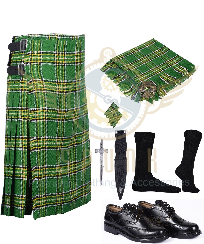Scottish 8 Yard KILT Mens Traditional 8 yard KILT Irish & Free Accessories Waist 30