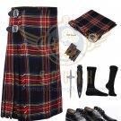 Scottish 8 Yard KILT Mens Traditional Black Stewart 8 yard KILT & Free Accessories