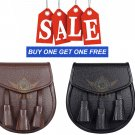 Scottish Brown & Black Leather Kilt Sporran with Chain Belt Buy 1 Get 1 Free