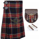 Scottish 8 Yard KILT Mens Highland Traditional Kilt Black Stewart with Sporran waist 38