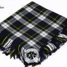 Scottish Traditional Dress Gordon Tartan Kilt FLY PLAID & Brooch -Fly plaid Size (48 X 48)