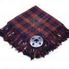 Scottish Traditional Cameron Tartan Kilt FLY PLAID & Brooch -Fly plaid Size (48 X 48)
