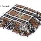 Scottish Traditional Campbell of Thompson Tartan Kilt FLY PLAID & Brooch -Fly plaid Size (48 X 48)