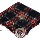 Scottish Traditional Black Stewart Tartan Kilt FLY PLAID & Brooch -Fly plaid Size (48 X 48)