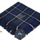 Scottish Traditional Blue Douglas Tartan Kilt FLY PLAID & Brooch -Fly plaid Size (48 X 48)