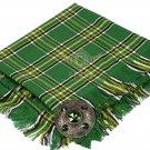 Scottish Traditional Irish Tartan Kilt FLY PLAID & Brooch -Fly plaid Size (48 X 48)