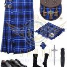 Scottish 8 Yard KILT Traditional 8 yard Tartan KILT Ramsey Blue 8 yard kilt With Accessories