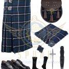 Scottish 8 Yard KILT Traditional 8 yard Tartan KILT Blue Douglas 8 yard kilt With Accessories