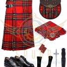 Scottish 8 Yard KILT Traditional 8 yard Tartan KILT Royal Stewart With Accessories Waist 38