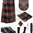 Scottish 8 Yard KILT Traditional 8 yard Tartan KILT Black Stewart 8 yard kilt With Accessories
