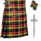 Scottish 8 Yard KILT Highland Traditional 8 Yard KILT Buchanan Tartan Waist 38