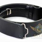 Men's Scottish Black Leather Traditional Highlander Kilt Belt waist 52