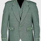 Lovat Green Tweed Argyle Scottish Men's Kilt Jacket With 5 Button Vest 34 Long