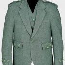 Lovat Green Tweed Argyle Scottish Men's Kilt Jacket With 5 Button Vest 36 Long