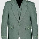 Lovat Green Tweed Argyle Scottish Men's Kilt Jacket With 5 Button Vest 38 Long