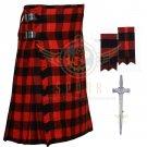 Scottish Handmade 8 Yard Red Black Rob Roy KILT Package Flashes- Kilt Pin