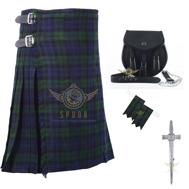 Men's Scottish Tartan Kilt Traditional Black Watch 8 yard Kilts Highlander Set Waist 34
