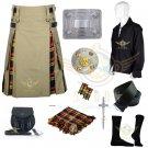 Buchanan Hybrid Utility Kilt Men's Scottish Khaki Cotton Buchanan utility Kilt Waist 30