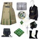 Irish Hybrid Utility Kilt Men's Scottish Khaki Cotton Irish utility Kilt Waist 30