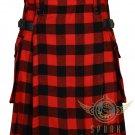 Scottish Red & Black Rob Roy Tartan Utility kilt For Men's - 2 Cargo pockets