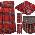Scottish Royal Stewart 8 Yard KILT - Tartan KILT - With Free Accessories Kilt Waist 44
