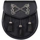 Scottish Semi Dress Black Leather Sporran & Belt Rampant Lion Emblem Bovine Fur