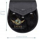 Scottish Black Leather Semi Dress KILT SPORRAN - Black Rabbit Fur with Free Belt
