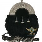 Scottish Full Dress KILT SPORRAN & Chain Belt Black Rabbit Fur Silver Cantle
