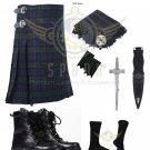 Scottish Men 8 Yard KILT Traditional 8 yard Black Watch Tartan KILTS - Free Accessories