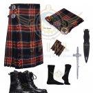 Men's Scottish 8 Yard KILT Traditional 8 yard Black Stewart Tartan KILT - Free Accessories