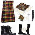 Scottish Buchanan 8 yard Tartan KILT - Free Accessories - Size 44
