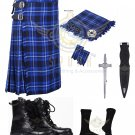 Scottish Ramsey Blue 8 yard Tartan KILT - Free Accessories - Size 40