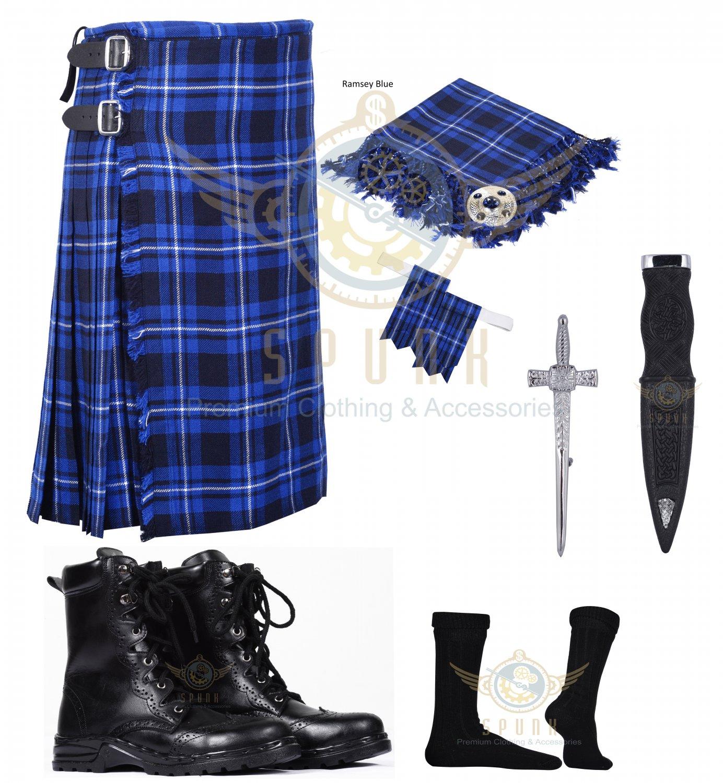 Scottish Ramsey Blue 8 yard Tartan KILT - Free Accessories - Size 54