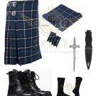 Men's Scottish Blue Douglas 8 yard Tartan KILT - Free Accessories