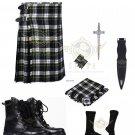 Scottish Dress Gordon 8 yard Tartan KILT - Free Accessories - Size 32