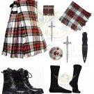 Men's Scottish Dress Stewart 8 yard Tartan KILT Traditional 8 yard kilt - Free Accessories