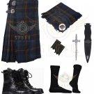 Men's Scottish Gunn 8 yard Tartan KILT Traditional Gunn Tartan 8 yard kilt - Free Accessories