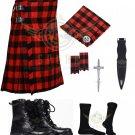 Scottish Red Black Rob Roy 8 yard Tartan KILT - Free Accessories - Size 48