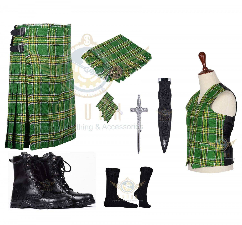 Men's Scottish Irish 8 Yard KILT Traditional Tartan KILT - With Free Accessories