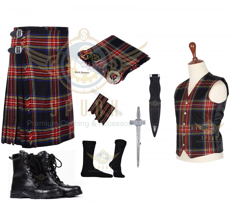 Scottish Black Stewart 8 Yard KILT Traditional Tartan KILT - With Free Accessories