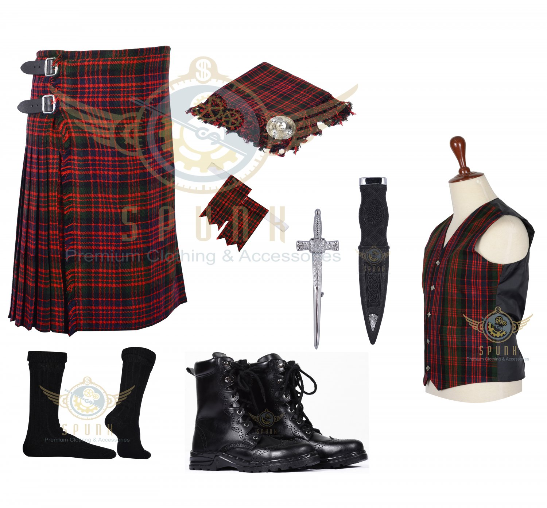 Scottish MacDonald 8 Yard KILT Traditional Tartan KILT - With Free Accessories Package