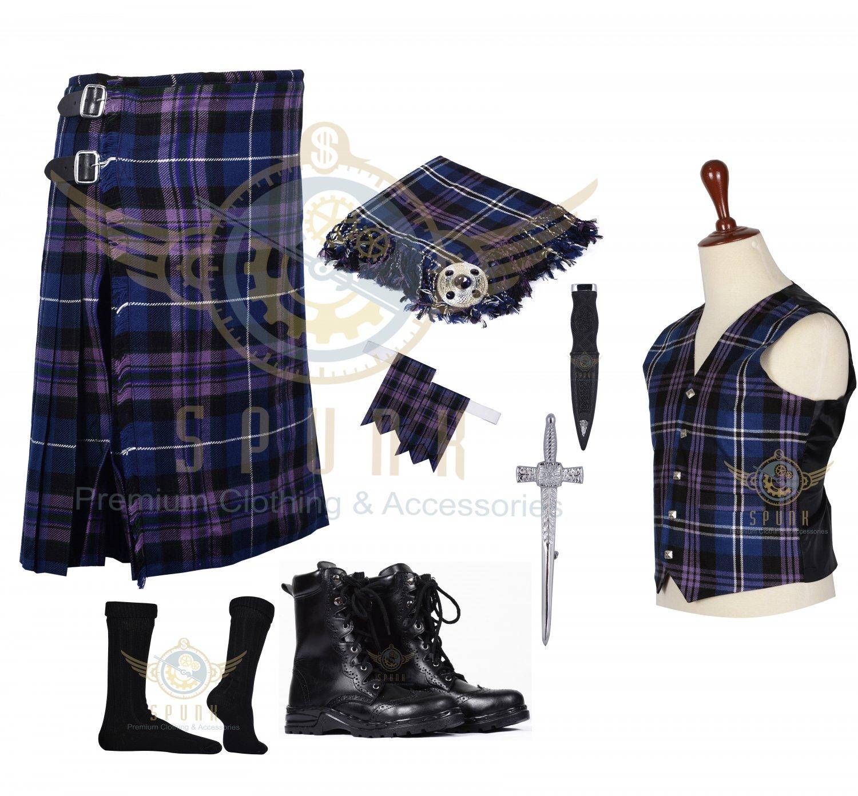 Scottish Pride of Scotland 8 Yard KILT Traditional Tartan KILT - With Free Accessories Package