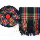 Scottish Black Stewart Tam o'Shanter Flat Bonnet Hat With Scarf 100%Acrylic Tartan