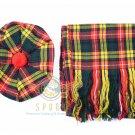 Scottish Buchanan Tam o'Shanter Flat Bonnet Hat With Scarf 100%Acrylic Tartan