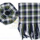 Scottish Dress Gordon Tam o'Shanter Flat Bonnet Hat With Scarf 100%Acrylic Tartan