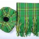 Scottish Irish Tam o'Shanter Flat Bonnet Hat With Scarf 100%Acrylic Tartan