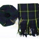 Scottish Gordon Tam o'Shanter Flat Bonnet Hat With Scarf 100%Acrylic Tartan