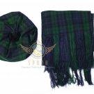 Scottish Black Watch Tam o'Shanter Flat Bonnet Hat With Scarf 100%Acrylic Tartan